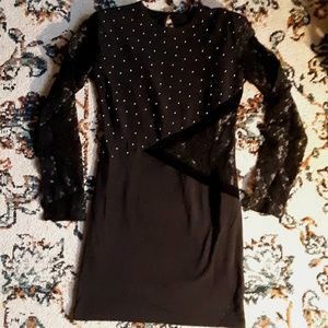 Gold Bead Lace Cut Out Long Sleeve Black Mini